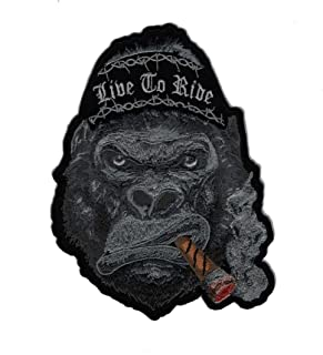 Ape Cigar Victory Live to Ride 6 inch Iron on Jacket Vest Patch