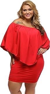 009b9b0e7fa62 Gloria Sarah Women s Sexy Off Shoulder Ruffles Multiple Dressing Layered Plus  Size Mini Dress