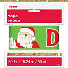 Unique Do Not Open Till Christmas Caution Tape | 50ft Roll, Novelty Santa Print Decoration, Special Occasion Favors
