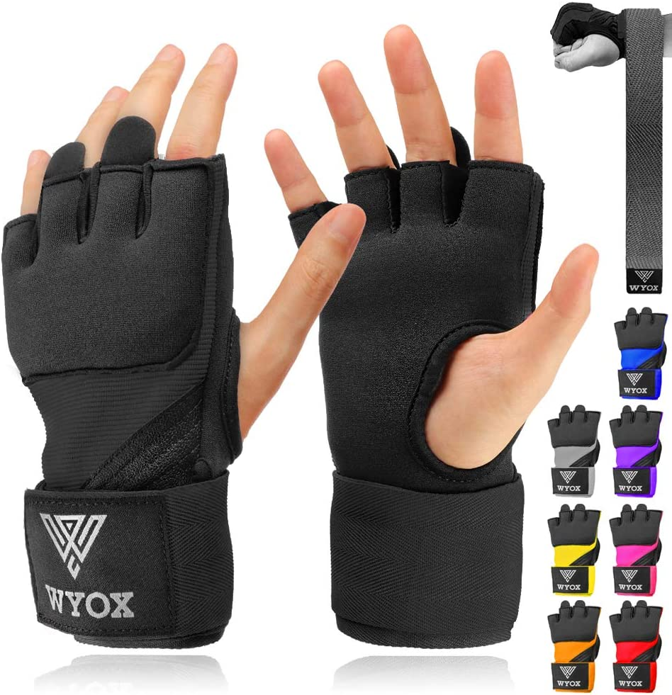 WYOX Boxing Wraps MMA Gloves Inner Boxing Gloves for Men Women Youth - EZ-Off & On - Thick Knuckle Padding - Breathable Fabric Hand Wraps Heavy Bag Gloves : Sports & Outdoors