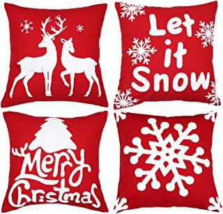sykting Christmas Pillow Covers Set of 4 Embroidery Throw Pillow Cases 18x18 inch for Couch Sofa Bed Decorative (Christmas Tree,Christmas Deer,Big Snowflakes,Snowflakes)