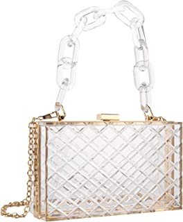 Linkidea Clear Purse Acrylic Box, Women Evening Clutch Bag, Transparent Approved Crossbody Handbag Fits Party, Prom & Concert