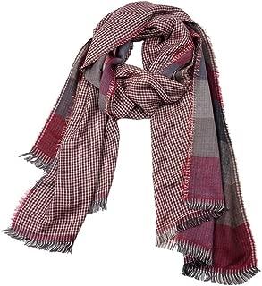 Howely Men Plaid Tassel Cotton Fall Winter Scarves Warm Super Soft Scarf