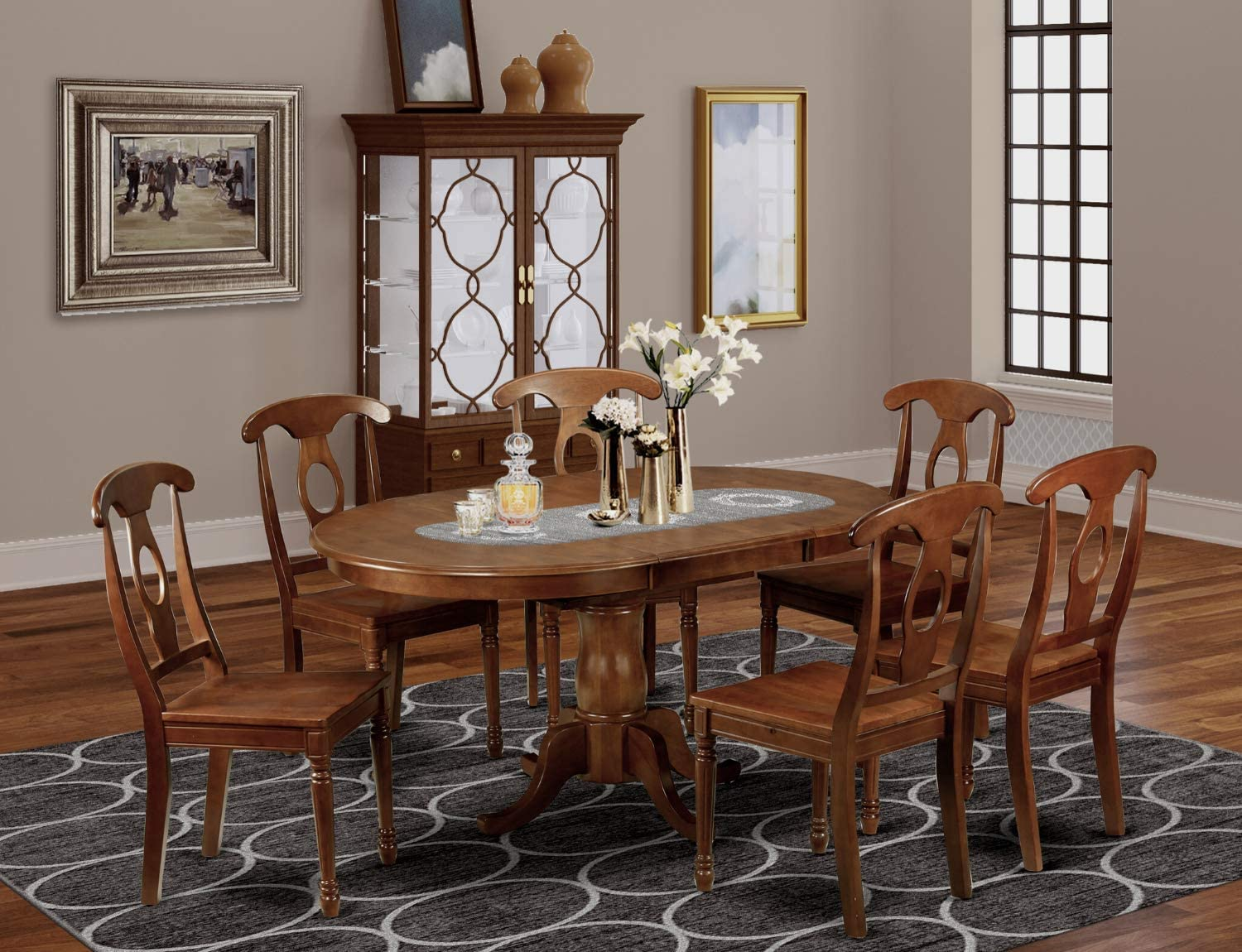 9 Pc Dining room set Oval Dining Table with Leaf and 9 Chairs