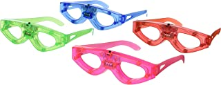 BEST PARTY FAVORS OF 2016 12 Piece Light-Up Flashing Glasses For Children & Adult Parties (4 Colors: Red, Green, Blue, & Pink)- With Push On/Off Button for All Occasions