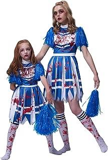 Girls Zombie Cheerleader Costume, High School Bloody Fancy Dress Up Kids Outfit