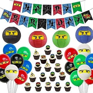 Ninja Birthday Party Supplies Decorations - Ninja Happy Birthday Banner 24 Cupcake Toppers Ninja Balloons Stickers for Boy...