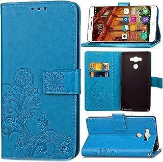 pinlu Funda para Elephone P9000 Función de Plegado Flip Wallet Case Cover Carcasa Piel PU Billetera Soporte con Trébol de la Suerte Azul
