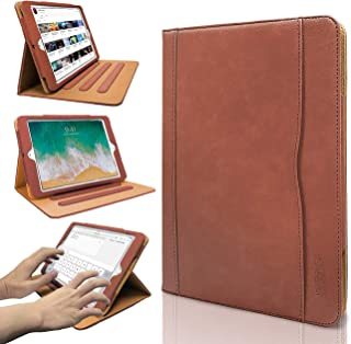 iPad 9.7 2017/2018 case - Leather Multiple Card Pocket Stand Case with Auto Sleep/Wake Up Viewing Angles Stand Folio Design for Apple iPad 9.7 inch 2017/2018 Air/Air 2 - Brown