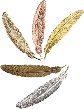 Ximimark 5 PCS Classical Feather Metal Bookmarks
