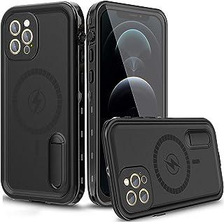 AICase - Funda impermeable para iPhone 12 Pro Max compatible con MagSafe, protector de pantalla integrado y soporte, 38 im...