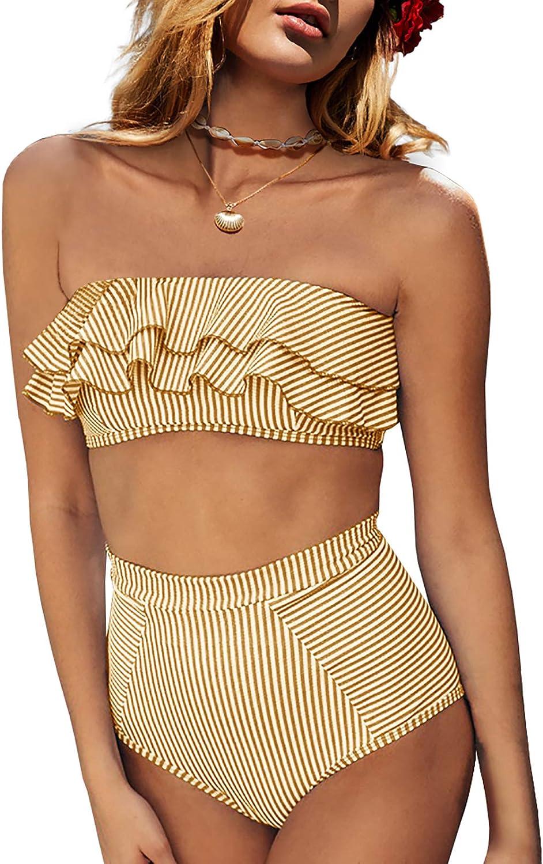 Saodimallsu Women High Waisted 2 Piece Bikini Set Bandeau Ruffle Swimsuit Top Striped Bathing Suits