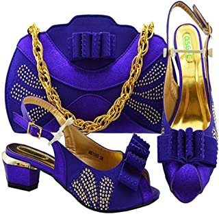 New Black Color Fashion Summer Shoes and Matching Bags Italian Shoe and Bag Set for Party high 4.5cm