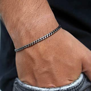 "GalisJewelry Mens Bracelet - Cuff Chain Bracelet Made Of Silver Plated Stainless Steel - Fits 7""-8"" Wrist Size"