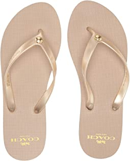 68f5441c62a COACH. Eden Flat Sandal with Signature Chain.  137.99MSRP   250.00.  Champagne