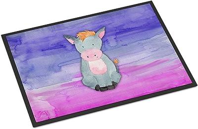 """Caroline's Treasures Donkey Watercolor Doormat, 18"""" x 27"""", Multicolor"""