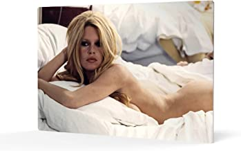 HB Art Design Brigitte Bardot Lying Naked Bed with White Sheets Colored Metal Wall Art Print Nude Sexy French Icon Artwork Living Room Bedroom Decor Metal Wall Decor Home Decor Made in USA 11x17