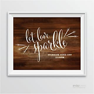 Andaz Press Personalized Wedding Party Signs, Rustic Wood Print, 8.5-inch x 11-inch, Let Love Sparkle, Sparkler Send Off, 1-Pack, Custom Made Any Time, Unframed