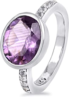 Sky Blue Topaz, Purple Amethyst 2.45 Ct Oval Shape 925 Sterling Silver Promise Ring Easter Presents For Girls And Women By...