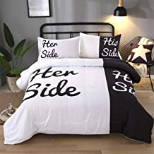 Black and White Comforter Set Queen Her Side and His Side Printed Bedding Solid Comforter with 2 Pillowcases, All Season Down Alternative Comforter Insert, Ultra Soft Microfiber (3 Pieces, Queen)