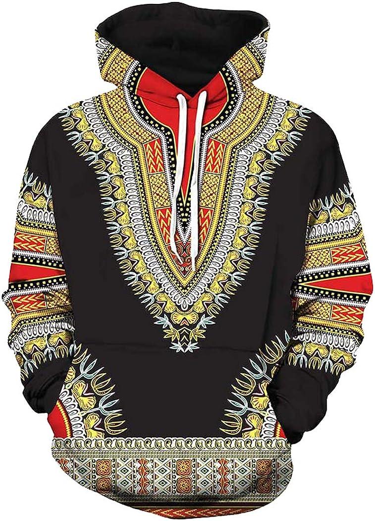 Unisex African Print Dashiki Long Sleeve Fashion Hoodies Sweatshirts with Pocket for Men Women Boys Girls