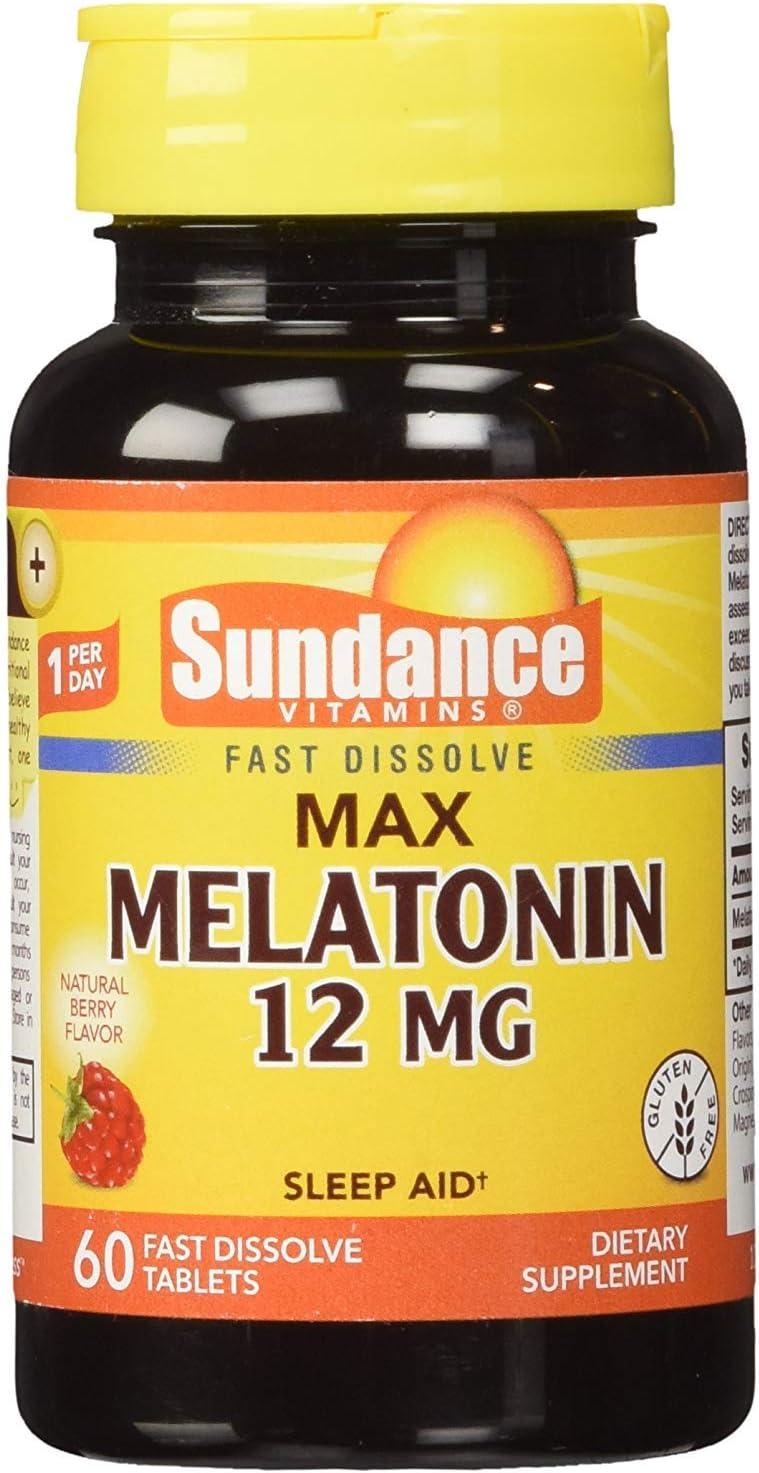 Sundance Vitamins Limited price Max Melatonin 12 mg Popularity Berry - Natural 60 Flavor