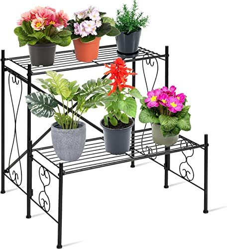 popular Giantex 2 Tiers Metal Plant Stand Flower Pots Holder Storage Rack, Ladder Plants Flower Display online Shelf for Indoors and Outdoors, Plant Organizer outlet sale with 2 Tier Shelves for Patio Garden Balcony Home online
