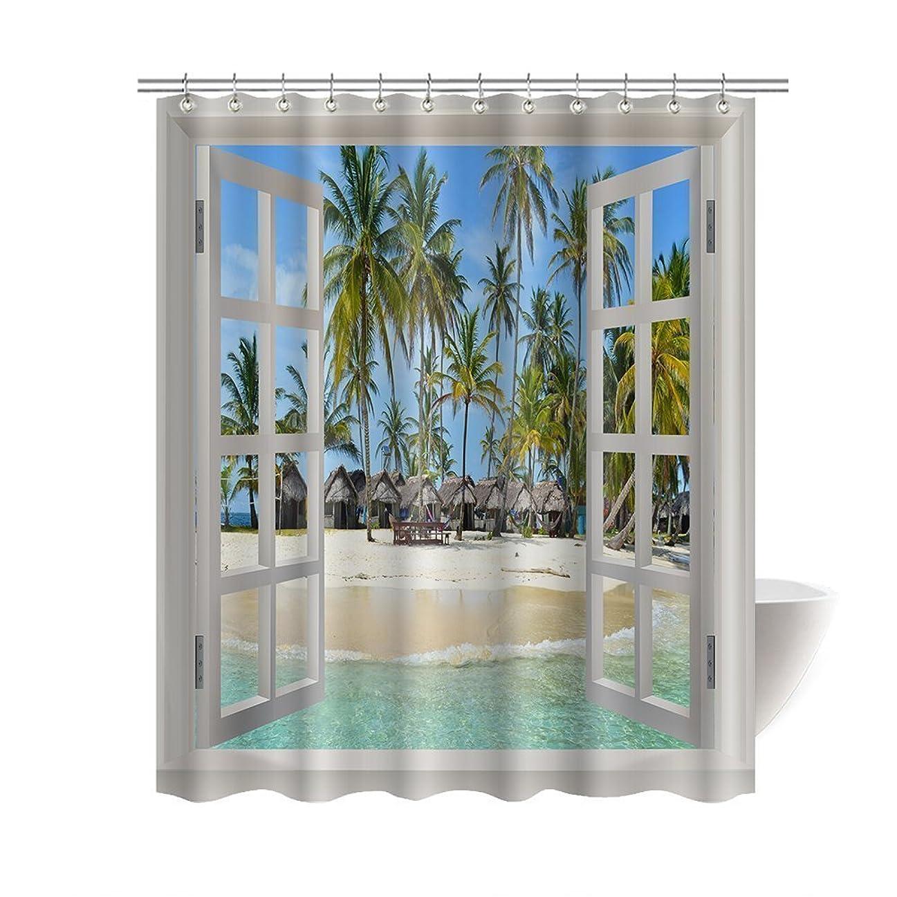 レガシーブラウザ三十シャワーカーテン ブルー モルディブ 休暇島 ヤシ樹 インテリア おしゃれ カーテン バスカーテン 幅90×丈180cm