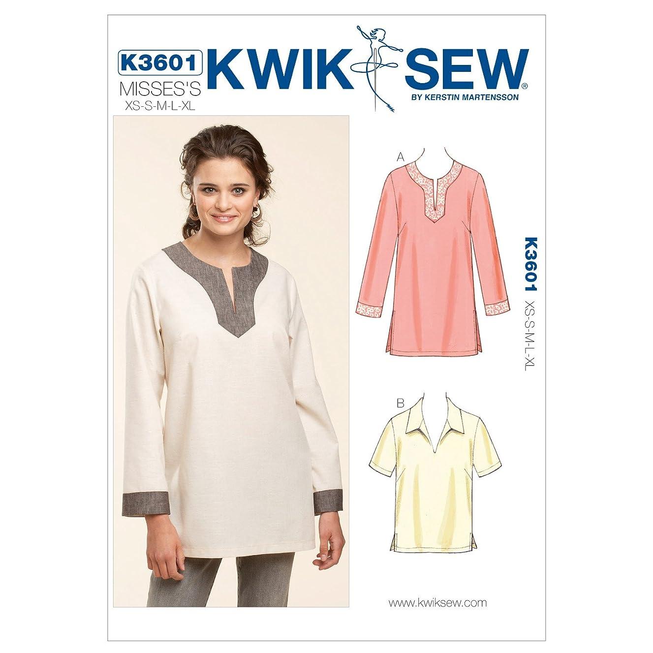 Kwik Sew K3601 Pull-Over Tops Sewing Pattern, Size XS-S-M-L-XL
