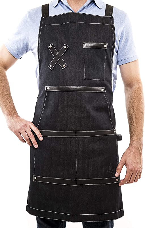 The Grill Legion Denim Apron For Men Women With Pockets Towel Tools Headphones Loops Apron For Grill BBQ Kitchen Cooks Chefs Restaurants Adjustable Straps Quick Release Buckle