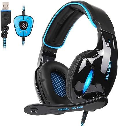 SADES SA902 cuffie Gaming Headset Auricolare per gioco USB 7.1 Audio surround stereo surround su cuffie per giochi auricolari Luce USB cablata Con controllo volume del Mic per PC / Laptop (nero e blu) - Trova i prezzi più bassi