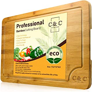 Large Wood Cutting Board - Eco-Friendly Kitchen Chopping Board with Juice Groove for Meat, Vegetables, Cheese & Fruits – Long Lasting Carving Board Serving Tray - 18 x 12.5 Inches