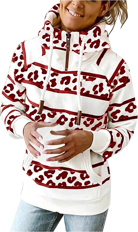 Women's Fashion Turtleneck Striped Hoodie Drawstring Pocket High Neck Zip Hooded Sweatshirt Long Sleeve Pullover