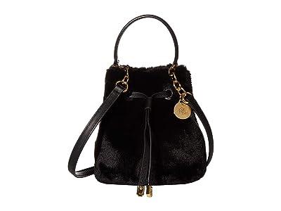 LAUREN Ralph Lauren Faux Fur Debby III Drawstring Mini (Black) Handbags