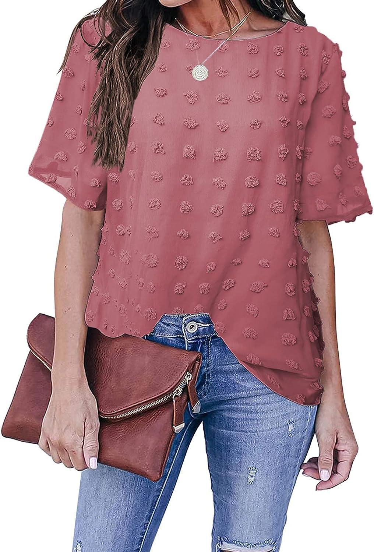HOTAPEI Womens Chiffon Shirts Summer Casual Crewneck Short Sleeve Pom Pom Tops