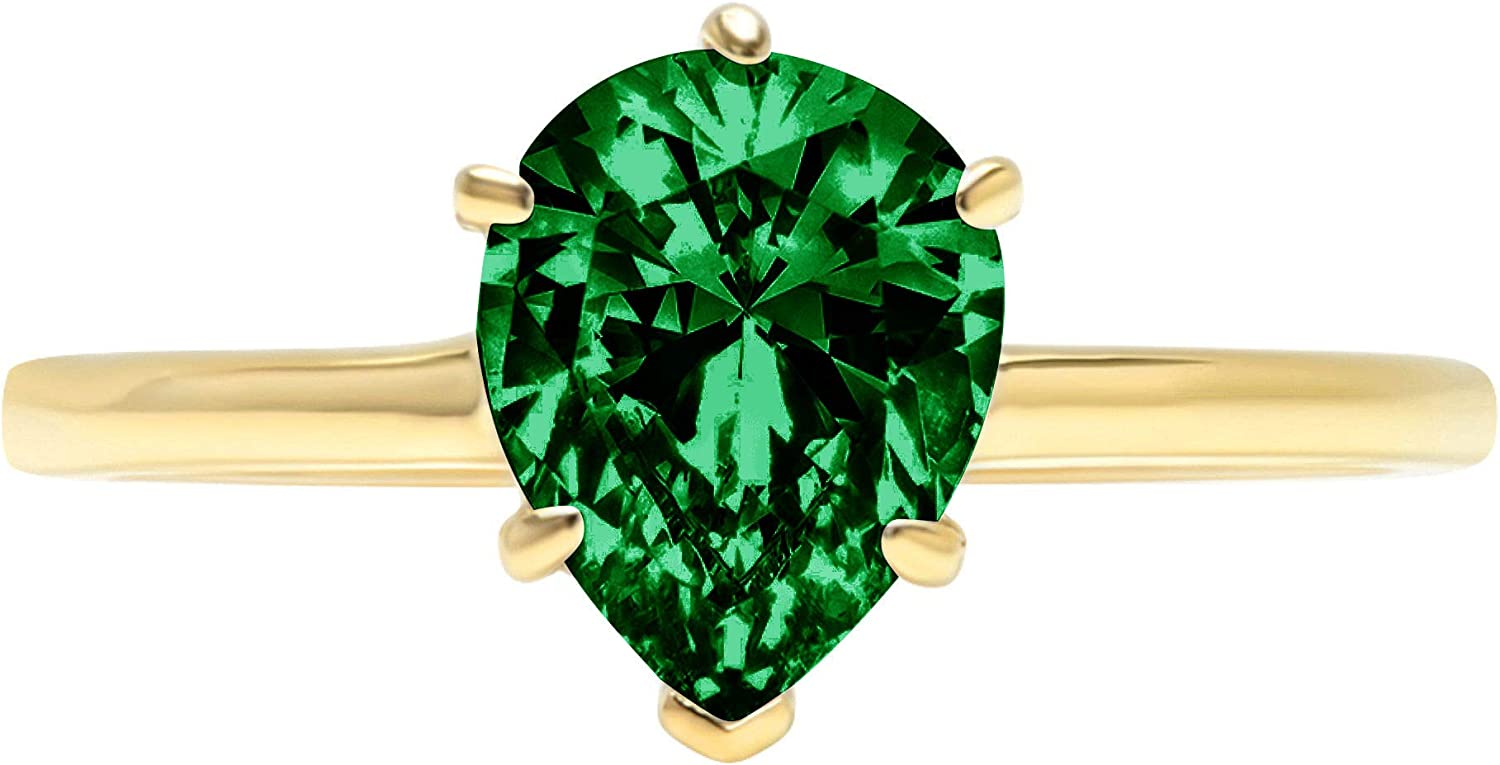 0.9ct Brilliant Pear Cut Solitaire Flawless Simulated Cubic Zirconia Green Emerald Ideal VVS1 6-Prong Engagement Wedding Bridal Promise Anniversary Designer Ring Solid 14k Yellow Gold for Women