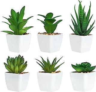 6 Pièces de Plantes Succulentes Artificielles en Pot, Plantes Succulentes Artificielles Vertes, Utilisées pour Le Bureau, ...