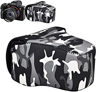 JJC カメラケースポーチ Sony A7III A7RIII A7II A7SII A7RII A7 A7R A7S + FE 28-70mm f3.5-5.6/24-70mm f4 / 16-35mm f4 / 50mm f2.8 / 55mm f1.8 / 85mm f1.8 レンズ & RX10 II IV 迷彩 グレー