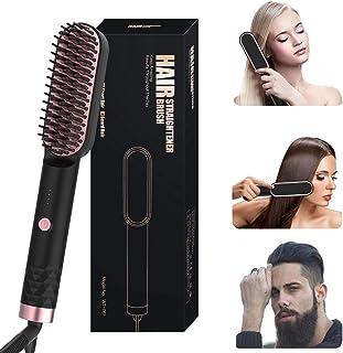 Hair Straightener Brush for Women & Men, Fast Heat Up Ionic Hair Straightening Comb, 3 Temperature Control, Dual Voltage R...