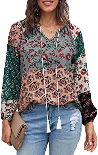 S-Fly Womens Long Sleeve Casual Chiffon Printed Top With Drawstring Loose Fit Shirts Tops Blouse