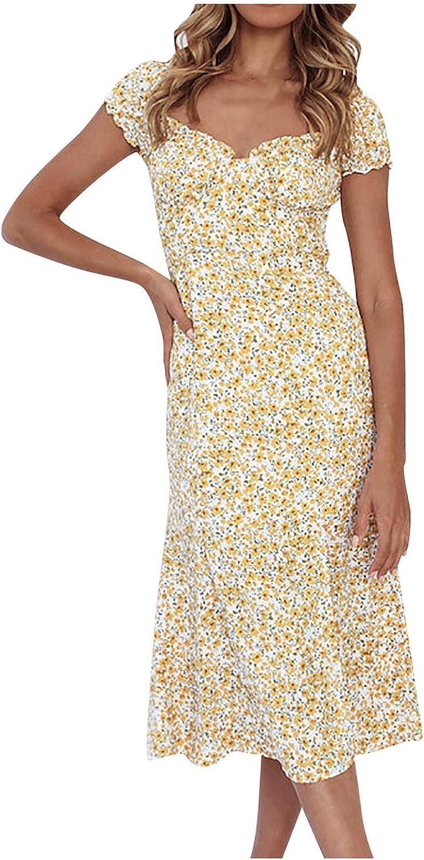 Uppada Women's Slit Square Neckline Dre Choice Sleeve Short Flare Mail order cheap Dress