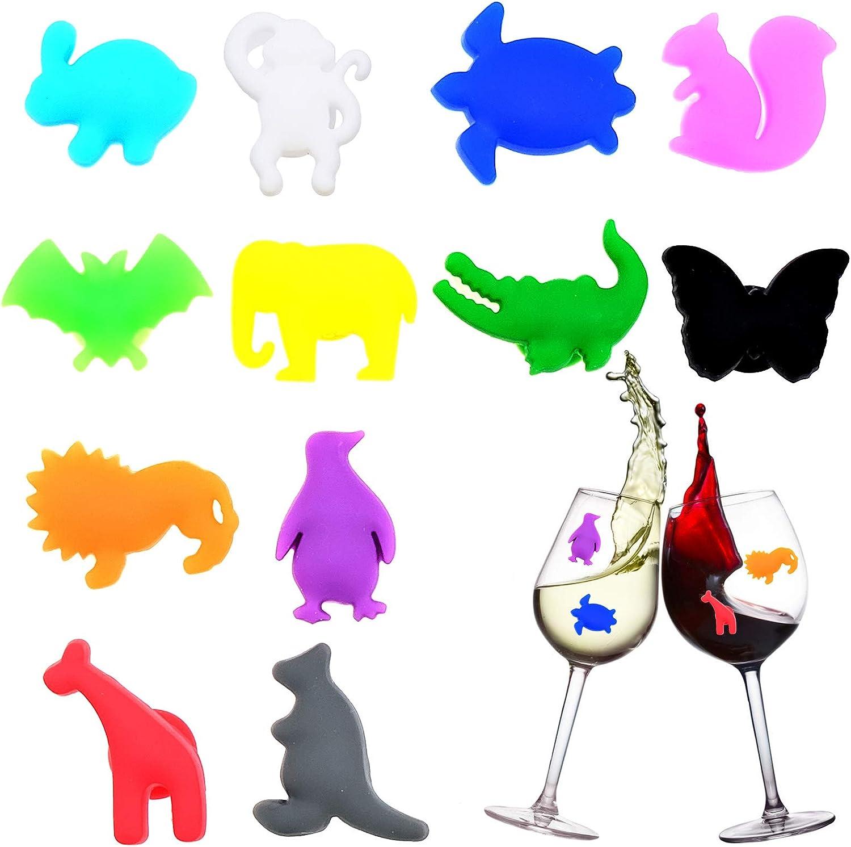 Cisolen 12 Piezas Marcadores de Copa Marcador de Vidrio de Vino Identificador de Copas Marcadores de Bebidas Vasos para Fiesta Boda Cumpleaños Bar