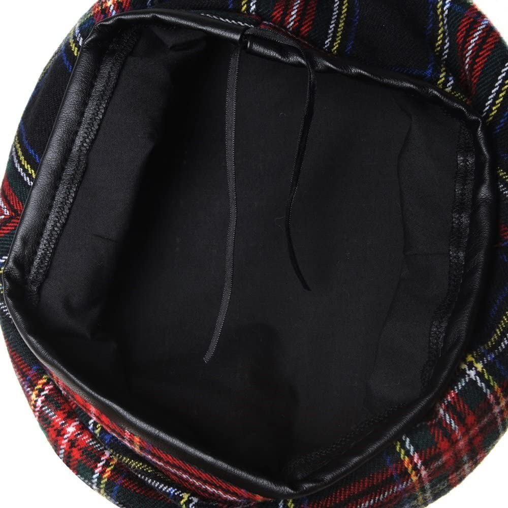 WITHMOONS Wool Beret Hat Tartan Check Leather Sweatband KR9539