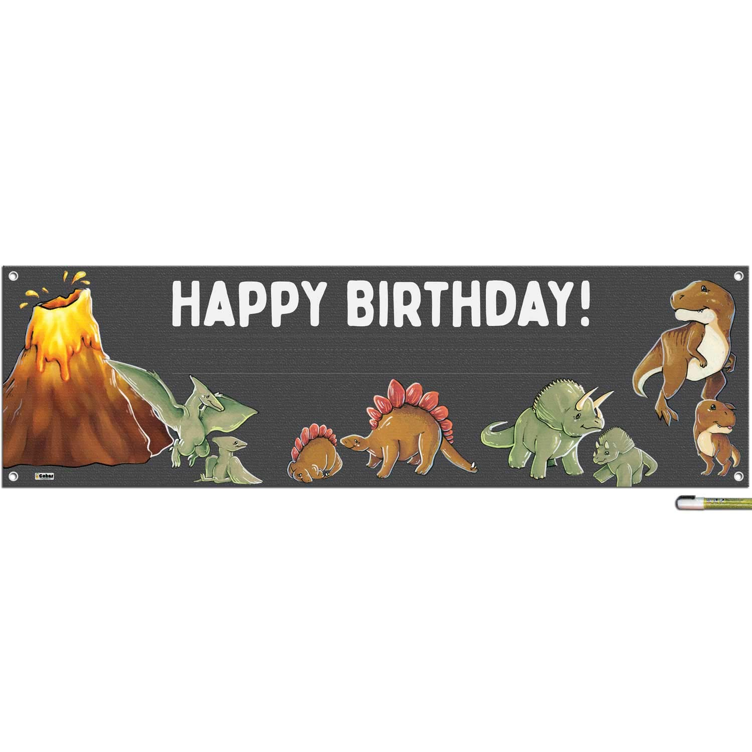 Cohas Dinosaur Theme Happy Birthday Banner Includes 16 by 52 Inch Vinyl Banner with Metal Hanging Rings, Additional Text Guidelines, and White Marker