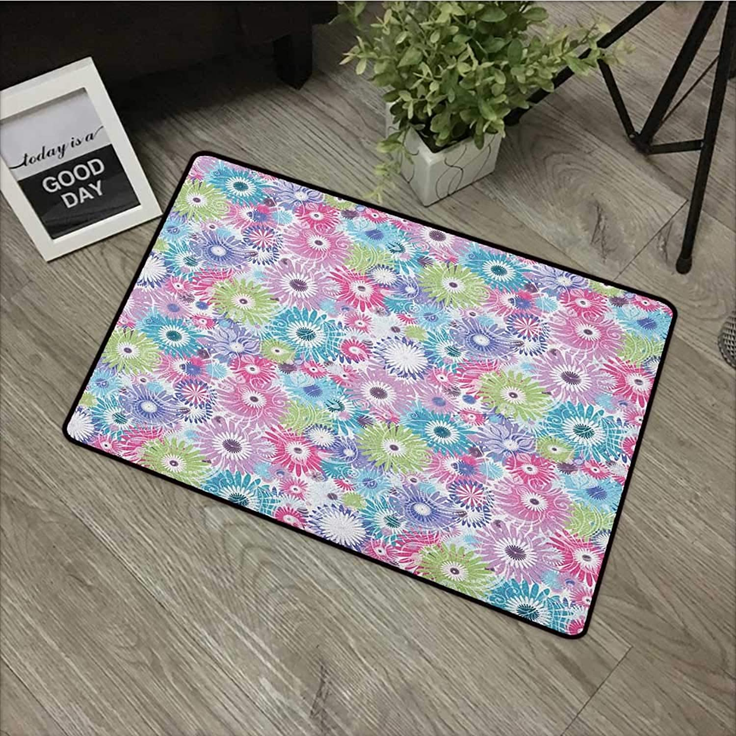 Bathroom Door mat W35 x L59 INCH Floral,colorful Pastel Pattern with Flowers and Vintage Curls Ornate Style Gerbera Daisies, Multicolor Non-Slip, with Non-Slip Backing,Non-Slip Door Mat Carpet
