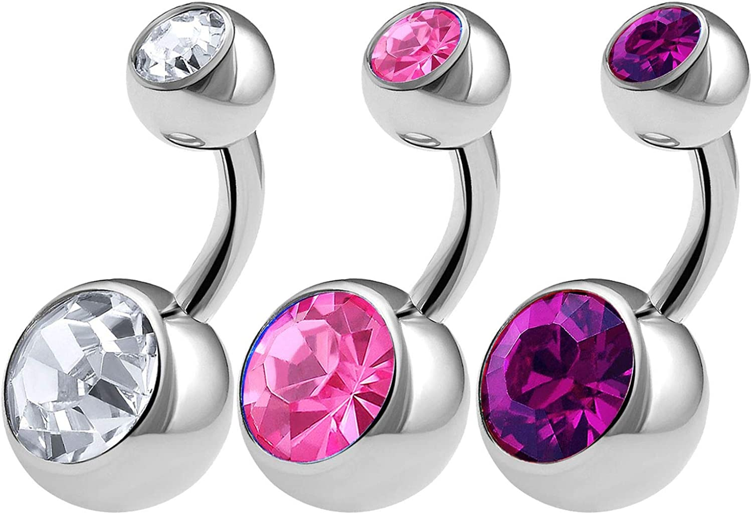 3PCS 316L Surgical Steel Shallow Belly Button Rings Studs 14 Gauge 1/4 6mm Clear Rose Crystal Balls Navel Bars Choose Colors