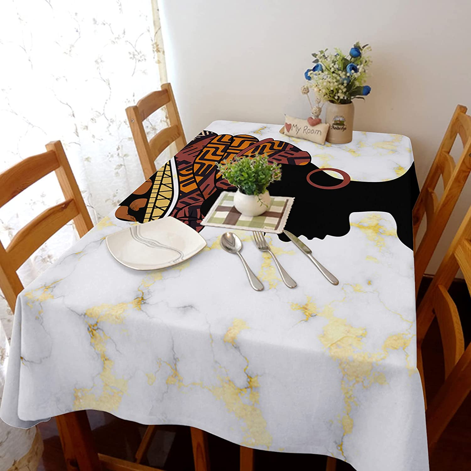 TH XHome Tablecloth Linen New mail order Burlap Afro Free shipping / New Ethn Weights Woman Fabric