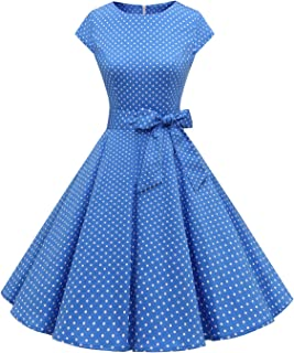 Dressystar Vintage anni '50 Polka Dot e Tinta unita Abiti da ballo Cap-Sleeve