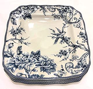 222 Fifth Adelaide Blue French Toile Square Dinner Plates | Set of 4 | Fine China Porcelain
