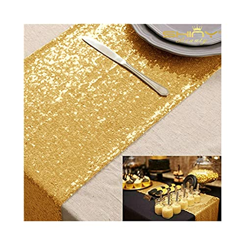 ShinyBeauty 12x72 Inch Rectangle Gold Sequin Table Runner For Wedding Party